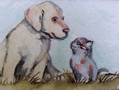 ACEO Dog Lab & Cat Limited Edition Print Of Watercolor Painting Art Halie French