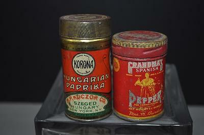 2 Vintage Spice Tins Hungarian Paprika and Spanish Chili Pepper