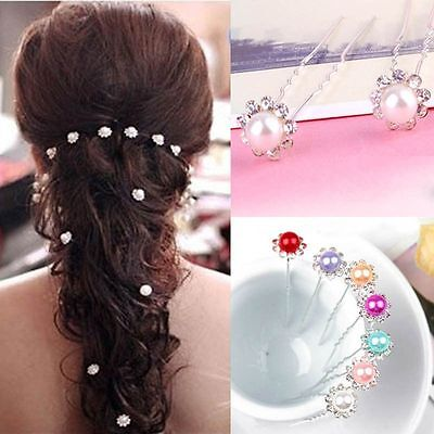 Pearl Bridal Bridesmaid Flower Wedding Jewelry Clips Hair Pins Headwear