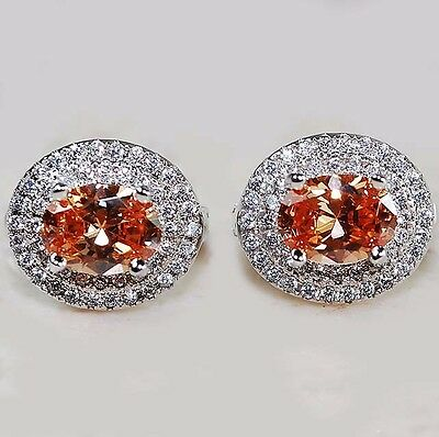4CT Padparadscha Sapphire & White Topaz 925 Solid Sterling Silver Earrings