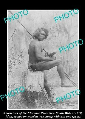 OLD HISTORICAL ABORIGINAL PHOTO OF MAN WITH SPEAR, CLARENCE RIVER NSW c1870