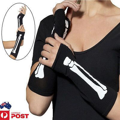 Black Skeleton Gloves Fingerless Skull Bone Halloween Party Fancy Dress Costume