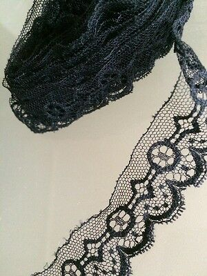Per 1 Yard Antique Black Dainty Lace French Dolls Gothic Costume Doll