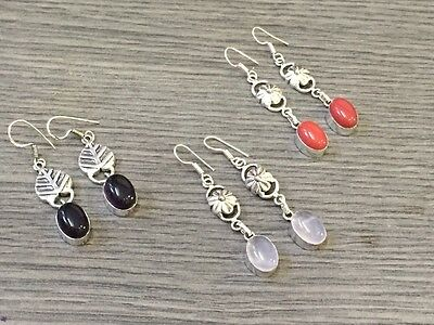 WHOLESALE LOT 3 pcs RED CORAL & MULTI-STONE.925 STERLING SILVER PLATED EARRING