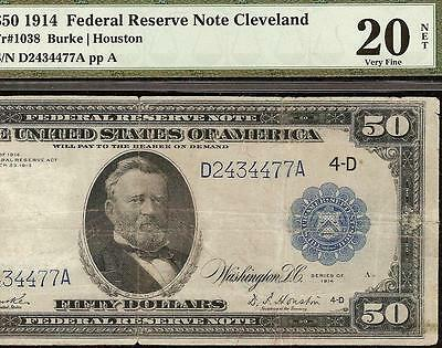 LARGE 1914 $50 DOLLAR BILL FEDERAL RESERVE NOTE BIG PAPER MONEY Fr 1038 PMG
