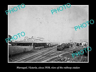 Old Large Historic Photo Of Warragul Victoria, View Of The Railway Station 1930