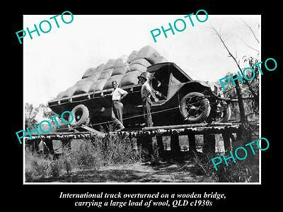 Old Historic Photo Of Truck Overturned On Bridge With Load Of Wool, Qld 1930