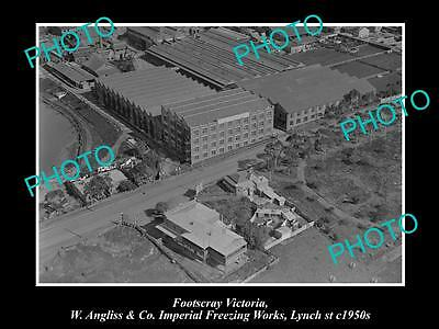 OLD LARGE HISTORICAL PHOTO OF FOOTSCRAY VICTORIA, ANGLISS FREEZE WORKS c1950s