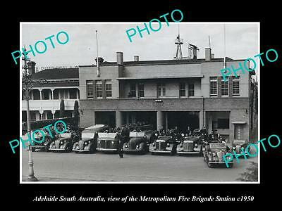 OLD HISTORIC PHOTO OF ADELAIDE SOUTH AUST, THE METRO FIRE BRIGADE STATION c1950