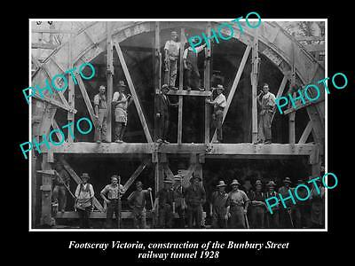OLD LARGE HISTORIC PHOTO OF FOOTSCRAY VIC, BUNBURY St RAILWAY TUNNELL c1928