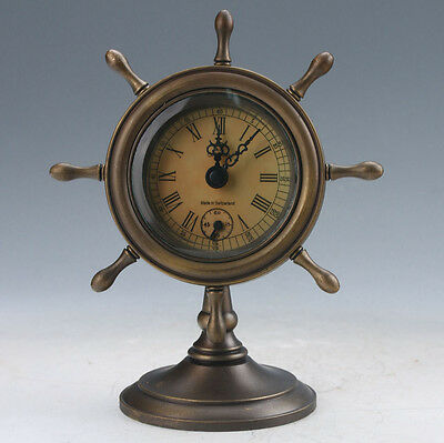 Collectible Old Chinese Brass Handwork Mechanical Table Clock