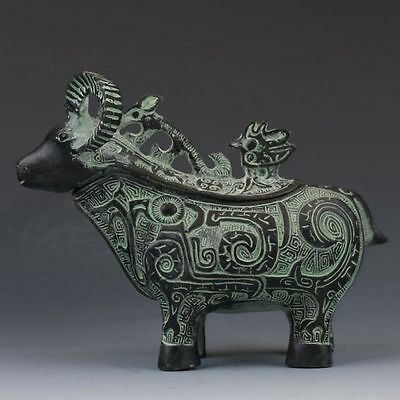 Chinese Antique Bronze Hand Carved sheep Pattern Teapot
