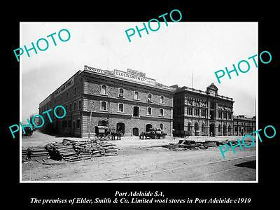 OLD LARGE HISTORIC PHOTO OF PORT ADELAIDE SA, THE ELDER SMITH WOOLS STORE c1910