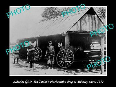 OLD LARGE HISTORIC PHOTO OF ALDERLEY QLD, TED TAYLORS BLACKSMITH STORE c1912