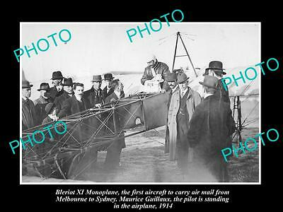 OLD LARGE HISTORIC PHOTO OF 1st MELBOURNE TO SYDNEY AIRMAIL PLANE, c1914 BLERIOT