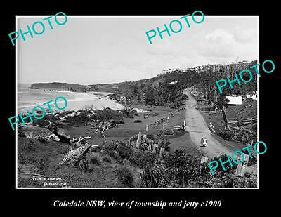 OLD LARGE HISTORIC PHOTO OF COLEDALE NSW, VIEW OF TOWNSHIP & JETTY c1900