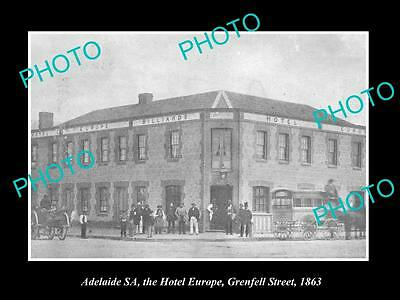 OLD LARGE HISTORIC PHOTO OF ADELAIDE SA, THE HOTEL EUROPE GRENFELL St c1863