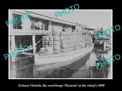 OLD LARGE HISTORIC PHOTO OF ECHUCA VIC, THE PARACON WOOL BARGE AT WHARF c1890