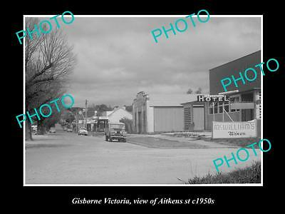 OLD LARGE HISTORIC PHOTO OF GISBORNE VICTORIA, VIEW OF AITKENS St c1950s
