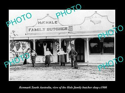 OLD LARGE HISTORIC PHOTO OF RENMARK SA, VIEW OF THE HALE BUTCHER SHOP c1900