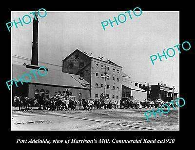 OLD LARGE HISTORIC PHOTO OF PORT ADELAIDE SA, VIEW OF HARRISONS MILL c1920