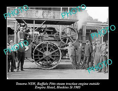 OLD LARGE HISTORIC PHOTO OF TEMORA NSW, STEAM TRACTOR AT HOTEL, HOSKINS St 1905
