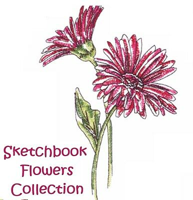 Sketchbook Flowers Collection - Machine Embroidery Designs On Cd