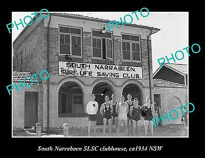 OLD LARGE HISTORIC PHOTO OF SOUTH NARRABEEN SURF LIFE SAVING CLUB HOUSE c1934
