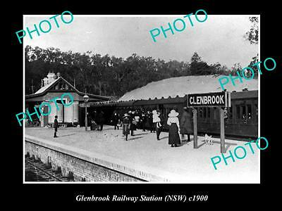 OLD LARGE HISTORIC PHOTO OF GLENBROOK NSW, VIEW OF RAILWAY STATION c1900