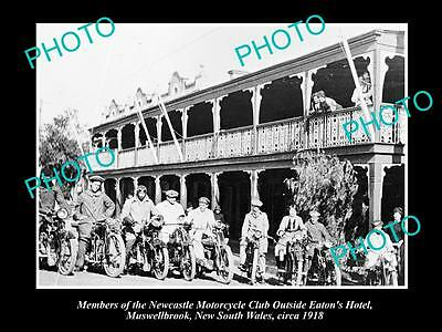 Old Historical Photo Of Muswellbrook, Newcastle Motorcycle Club At Hotel 1918