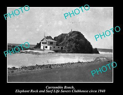 OLD LARGE HISTORIC PHOTO OF CURRUMBIN QLD, ELEPHANT ROCK & SURF HOUSE c1940