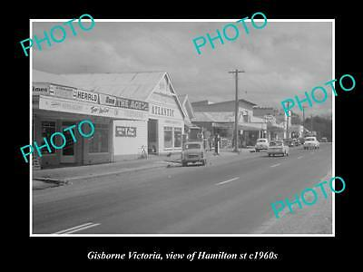 OLD LARGE HISTORIC PHOTO OF GISBORNE VICTORIA, VIEW OF HAMILTON St c1960s