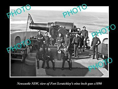 OLD LARGE HISTORICAL PHOTO OF NEWCASTLE NSW, FORT SCRATCHLEYS 9 INCH GUN c1890 3