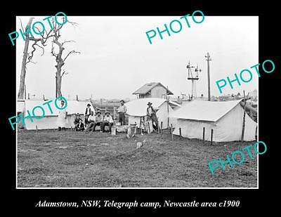OLD LARGE HISTORIC PHOTO OF ADAMSTOWN NSW, TELEGRAPH CAMP, NEWCASTLE AREA c1900