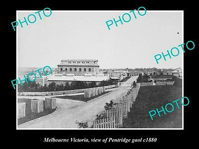OLD LARGE HISTORIC PHOTO OF VIEW OF PENTRIDGE GAOL, MELBOURNE VIC c1880