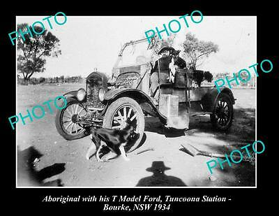 OLD LARGE HISTORIC PHOTO OF ABORIGINAL WITH HIS MODEL T FORD, c1930 BOURKE NSW