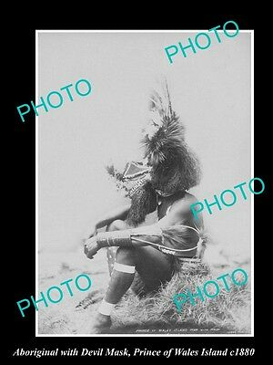 OLD LARGE HISTORIC PHOTO OF ABORIGINAL WARRIOR WITH DEVIL MARK c1880