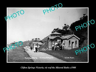 OLD LARGE HISTORIC PHOTO OF CLIFTON SPRINGS VICTORIA, THE MINERAL BATHS c1900