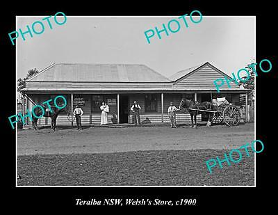 OLD LARGE HISTORIC PHOTO OF TERALBA NSW, WELSH'S STORE BUILDING c1900