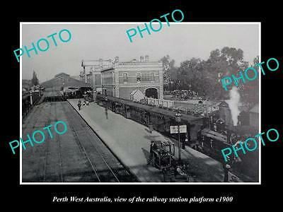 OLD LARGE HISTORIC PHOTO OF PERTH WEST AUSTRALIA, THE RAILWAY STATION c1900