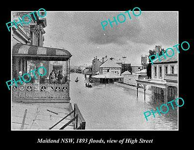 OLD LARGE HISTORIC PHOTO OF MAITLAND NSW, VIEW OF HIGH St FLOODED c1893