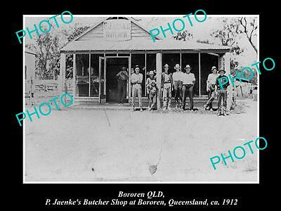 OLD LARGE HISTORIC PHOTO OF BOROREN QLD, VIEW OF JAENKES BUTCHER SHOP c1912