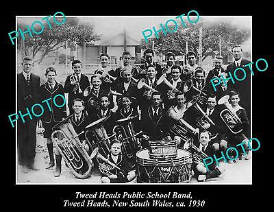 OLD LARGE HISTORIC PHOTO OF TWEED HEADS PUBLIC SCHOOL BAND c1930 NSW