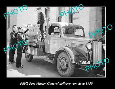 OLD LARGE HISTORIC PHOTO OF PMG POST MASTER GENERAL DELIVERY VAN ca1950