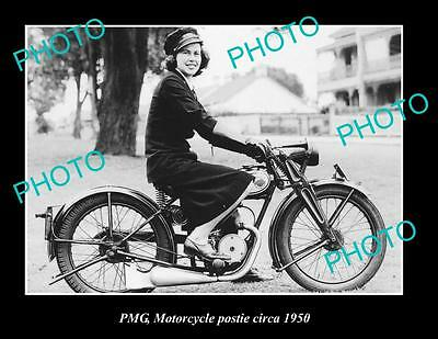 OLD LARGE HISTORIC PHOTO OF WOMEN POSTIE RIDING PMG POSTIE BIKE ca1950