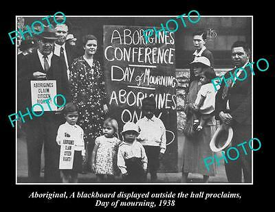 OLD LARGE HISTORIC PHOTO OF ABORIGINAL 'DAY OF MOURNING' EQUAL RIGHTS c1938 NSW