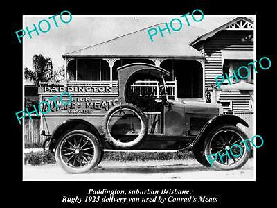Old Large Historic Photo Of Paddington Qld, Conrads Butcher Delivery Van 1925