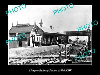 OLD LARGE HISTORIC PHOTO OF LITHGOW NSW, VIEW OF RAILWAY STATION c1890
