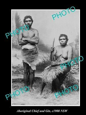 OLD LARGE HISTORIC PHOTO OF ABORIGINAL CHIEF AND GIN c1900 NSW