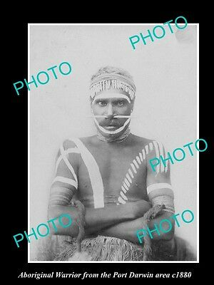 OLD LARGE HISTORIC PHOTO OF ABORIGINAL WARRIOR FROM PORT DARWIN AREA c1880